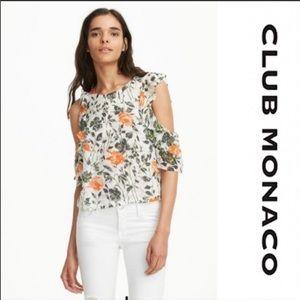 CLUB MONACO Hamisi Cold-Shoulder Ruffle Top -White